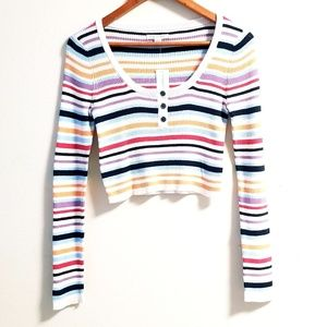 AEO Cropped Sweater Stripped Ribbed